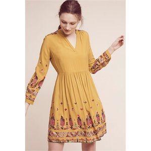 Anthro Floreat Raella Embroidered Tunic Dress